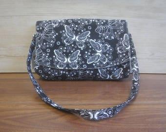Black and White Butterfly clutch purse shoulder bag, detachable strap, zipper pocket, handmade, homemade, Glenda, womans womens purse