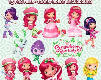 Strawberry Shortcake PNG, Shortcake Clipart, Straberry Clipart, Strawberry Files, High Resolution,  Instant Download  63