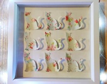 Floral Cat Silhouette 3D frame, Cat Art, Frame Art, Wall Art, Home Decor, Box Frame, Cat Silhouette, Birthday, Wedding, Gift, Cat lovers