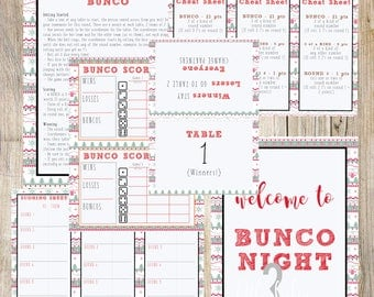 Christmas | Winter | Holiday | Sweater Print Themed Bunco Printable Set | Scorecard, Table Numbers, Instructions and More
