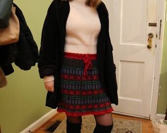 Red Multicolor Wool Sweater Skirt