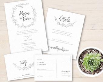 Custom Wedding Invitation / Invitation Set / Printable Invitation Design / Simple Wedding invitations  / Minimalist Wedding Invites