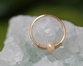 24G Nose piercing,Jade nose Hoop,nose ring piercing,gold nose ring,nose ring jewelry,tiny Pearl nose ring,thin nose ring,hoop nose ring