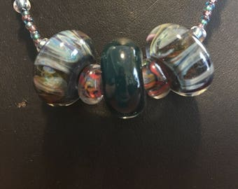 Green and Pink Hand-blown Glass Bead Necklace