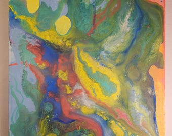 Early Summer, Original Abstract Acrylic, Pastel Painting on Canvas