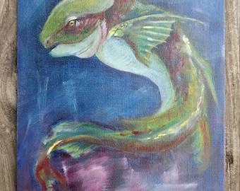 Fish Sea Monster Original Oil Painting 8x10