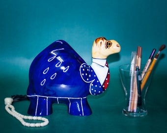 """Ceramic Camel """"Business"""" Statue Turov Art Pottery Collectible"""
