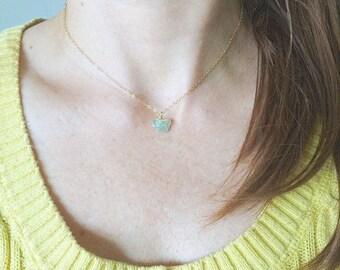 Aquamarine Necklace, Aquamarine Choker, Aquamarine, Aquamarine Gold Filled, Gemstone Necklace, Raw Gemstone