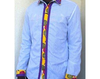 Shirt man Rainbow Soda Men's African Fashion shirt with Wax printing patterns