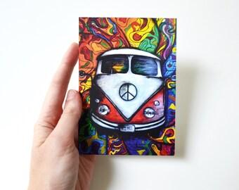 Vintage car bohemian art hippie gift rainbow painting travel card birthday memories original gift card love postcard red bus red volkswagen