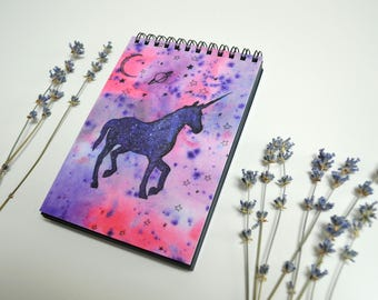 Moon stars Pink unicorn Space planet Pretty gift for girl Black paper notebook Pink black journal Cute hippie gift Spiral sketchbook
