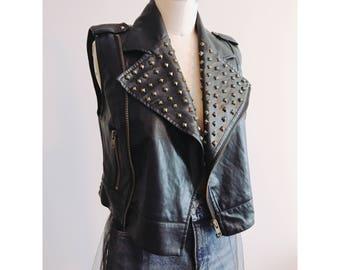 Leather Vest/Leather Jacket/Vintage Leather Jacket/Studded Leather Jacket/Vintage Leather Vest/Gold Studded Jacket/Collared Zip Up Jacket