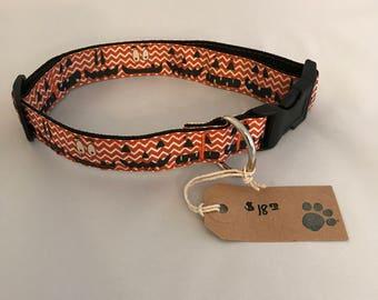 Dog Collar, Chevron Dog Collar, Halloween Dog Collar, Ribbon Dog Collar, Orange Chevron Dog Collar, Jack-o-Lantern Dog Collar