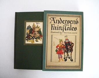 Vintage Andersen's Fair Tales Book for Children, 1945 Edition, Illustrated by Arthur Szyk, Hardcover in Carton Slip Case, 29 Tales