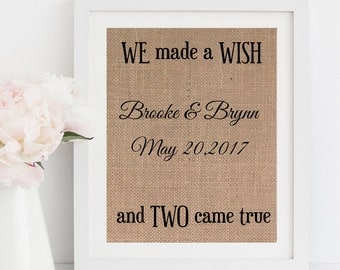 Twins Baby Gift Twins print We Made A Wish and Two Came True