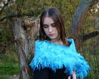 Felt accessories women collar scarf handmade women wool scarf felted wrap felt scarf fur collar turquoise scarf elegant scarf felt collar