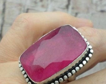 SILVER plated ring and Ruby (BA54 5-182)