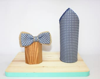 Bow tie set with jute and Pocket handkerchief
