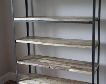Bookcase, Shelves, Reclaimed Timber and Steel