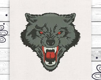 Wolf embroider Angry wolf embroidery Machine embroidery 3 sizes For Christmas INSTANT DOWNLOAD EE5155