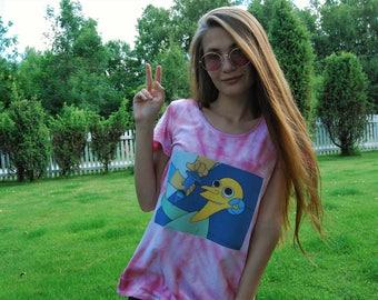 Tie Dye Simpsons Shirt // Psychedelic Shirt // Hippie //  Handmade