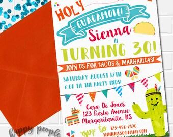 Fiesta Birthday Invitation Holy Guacamole Invitation Fiesta Invitation Fiesta Invite Fiesta Theme Party Mexican Fiesta Taco Party Printable