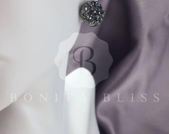 Dark Silver Druzy Earrings, Silver Drusy Earrings, 12mm Druzy Earrings, Silver Druzy, Raw Druzy Earrings, Silver Druzy Studs, Dark Silver