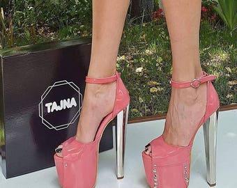 Pink Peep-Toe High Heel Mary Janes