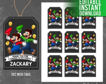 Super Mario Thank You Tags - Instant Download, Super Mario Party Favor Tags, Mario and Luigi Labels, Editable PDF - INSTANT DOWNLOAD