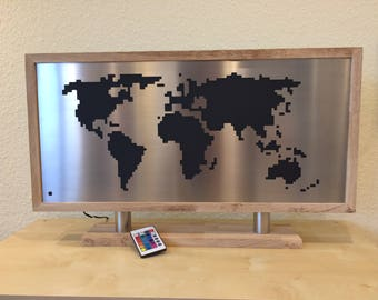 "LED world map ""oak"" * reduced *."