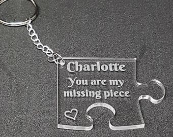 Valentines Day Jigsaw Shaped  Personalised Keyring Him Her Missing Piece Anniversary Gift