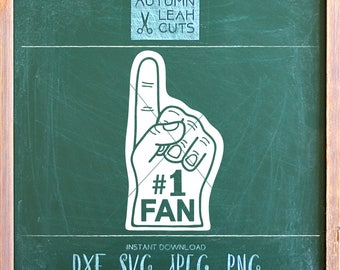 Number 1 Fan - Foam Finger -- SVG, PNG, Jpeg, DXF cut file for Silhouette, Cricut -- Instant Download Clipart - Football Clipart