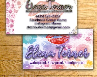 LipSense Business Cards, custom card, lipsense card, Lipsense Business Card, for SeneGence - lipsense distributor, LipSense business