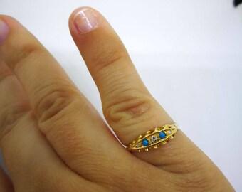 Antique 18ct Solid Gold 5-Stone Diamond & Turquoise Gemstone Ring