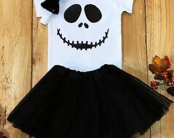 Jack skellington, nightmare before christmas, jack skellington onesie, halloween onesie, halloween baby girl, halloween outfit, fall onesie