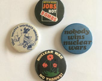 4 Anti War Anti Nuclear Weapons Labour Green Retro Vintage Remake Badges