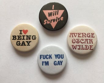 Set of 4 LGBT Gay Pride Button Badges Pink Triangle Avenge Oscar Wilde Vintage Style Pins