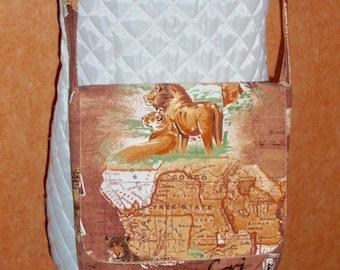 "Carried shoulder //Sac shoulder bag / / Messenger bag / / bag with flap / / ""SAFARI"" printed cotton fabric"