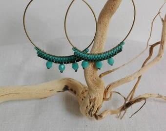 Bohemian style brick stitch bead weaving earrings