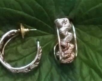 Vintage Gold toned rope hoop earrings, 70's 80's 90's retro pierced earrings