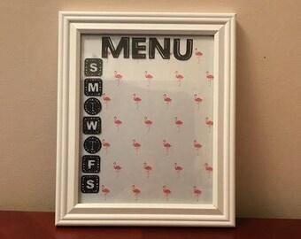 Dry Erase Menu Board 8 x 10 **housewarming gift** Birthday gift** cook** organized kitchen **flamingo