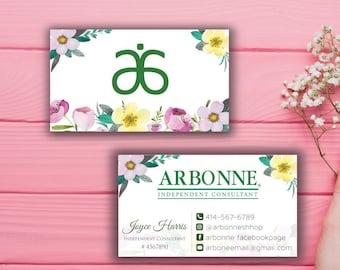 Arbonne Business Cards, Custom Arbonne Business Card, Green Floral Argonne Business Card, Custom Business Card, Printable Business Card AB10