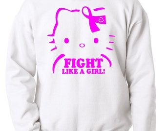 Breast Cancer Awareness 'Fight Like A Girl' White Crewneck Sweatshirt (Free 2 Day Shipping!!)