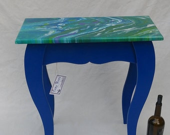 Blue Bliss, boho, bohemian, accent table, side table, end table, entry table, plant stand, blue, wood, painted, artistic, eclectic, funky