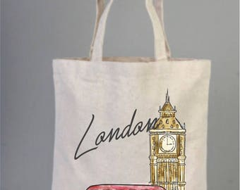 City Tote Bag, London Bag, World Cities,  Tote Bag, Cotton Bags Logo, Tote Bag Canvas, Handmade Bags ,Travel bags, Big Ben, Red Bus, London