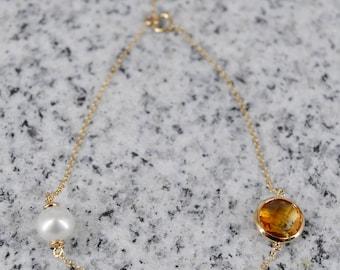 18k Citrine / Pearl Bracelet
