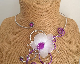 Silver Aluminum necklace / purple and the Orchid