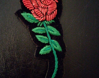 embroidered red rose