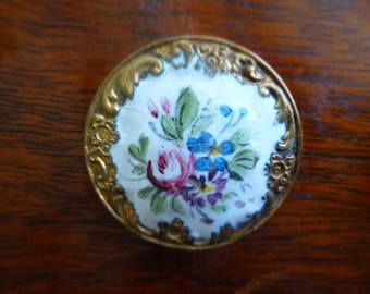 Antique  large French hand painted enamel button - late 1800's.