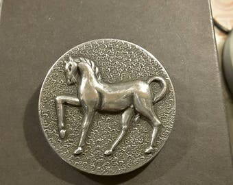 Vintage very large metal horse button - 1950's.